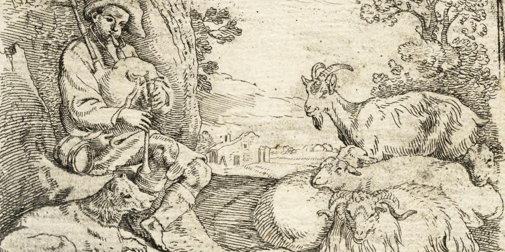 Sinibaldo Scorza: Pastore che suona la cornamusa al suo gregge. Acquaforte, 94 x 126 (lastra) mm. Collezione privata
