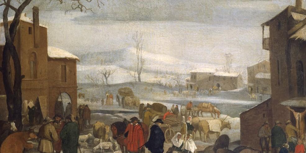 Sinibaldo Scorza: Paesaggio invernale con figure (Dicembre?). Olio su tela, 37 x 55 cm Genova, Musei di Strada Nuova, Palazzo Bianco. © Musei di Strada Nuova, Genova