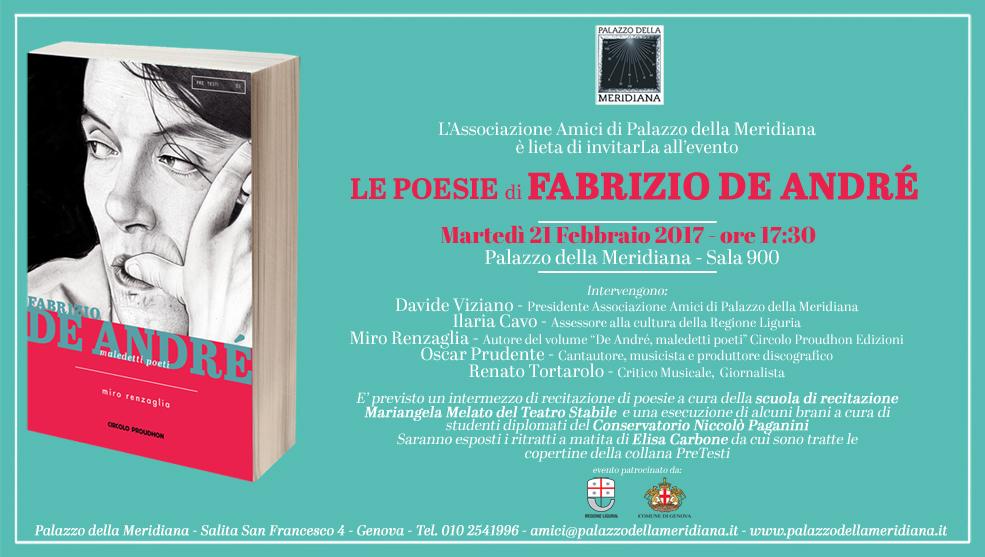 Martedì 21 Febbraio 2017 H 1730 Le Poesie Di Fabrizio De André
