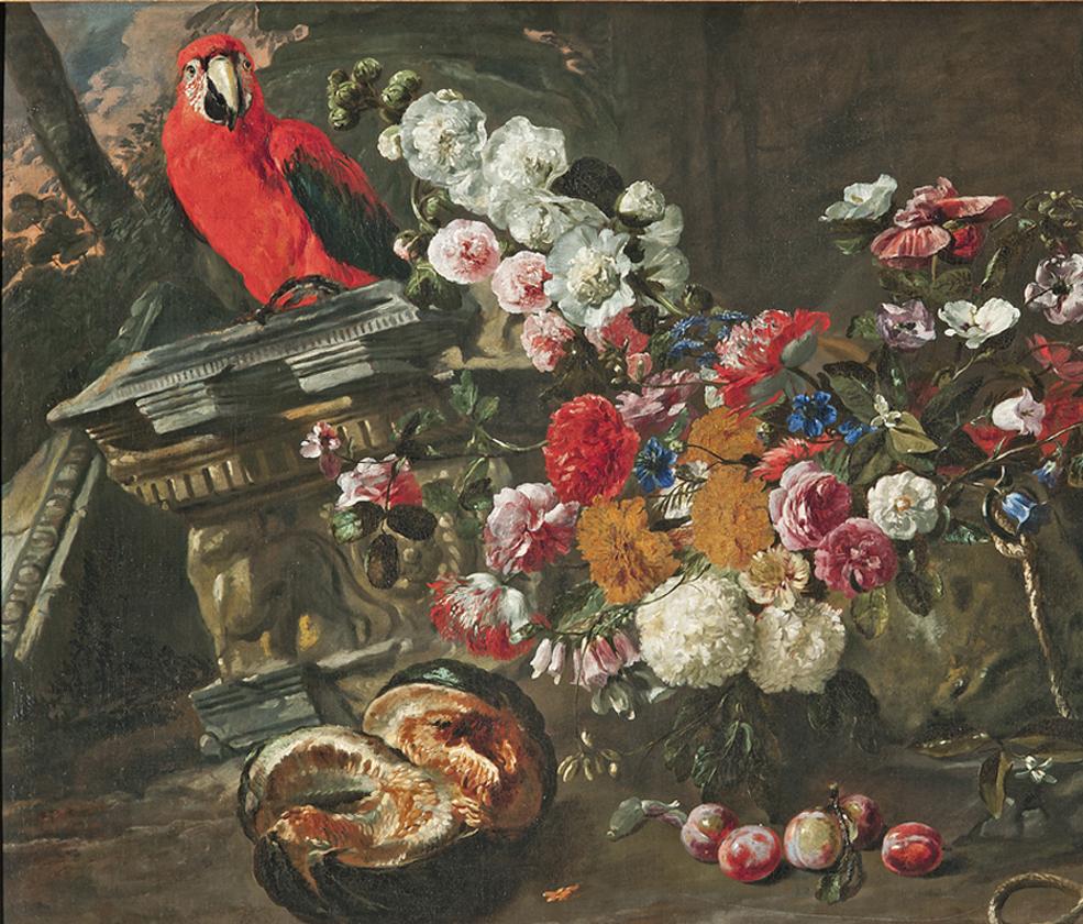 07_Boel_Natura morta con vaso di fiori con frutta